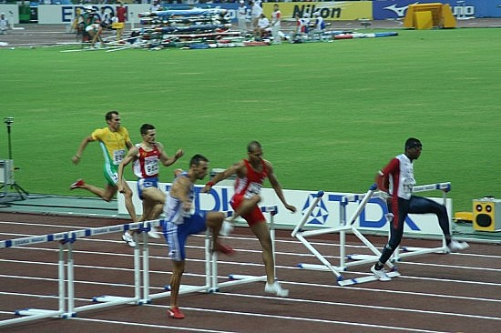 400 metres hurdles Favourite Bershawn Jackson struggling at the last hurdle, which leads to his competitors overtaking him and him dropping out in the semifinal. Photo by Eckhard Pecher.