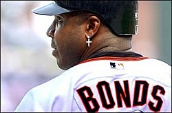 San Francisco slugger Barry Bonds had only 1 hit during the first game of the division series in Atlanta Wednesday afternoon.  10/2/02 Michael Holahan photo SPORTS