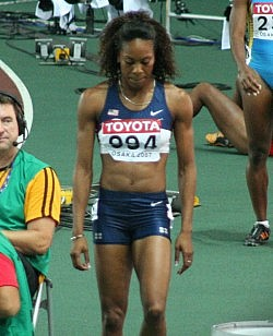 200 metres runner Sanya Richards after the semifinal. Photo by Eckhard Pecher