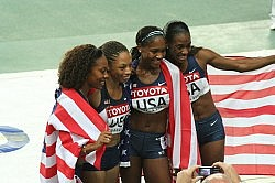 US team celebrating their victory in the women's 4x400 metres relay competition. Photo by Eckhard Pecher